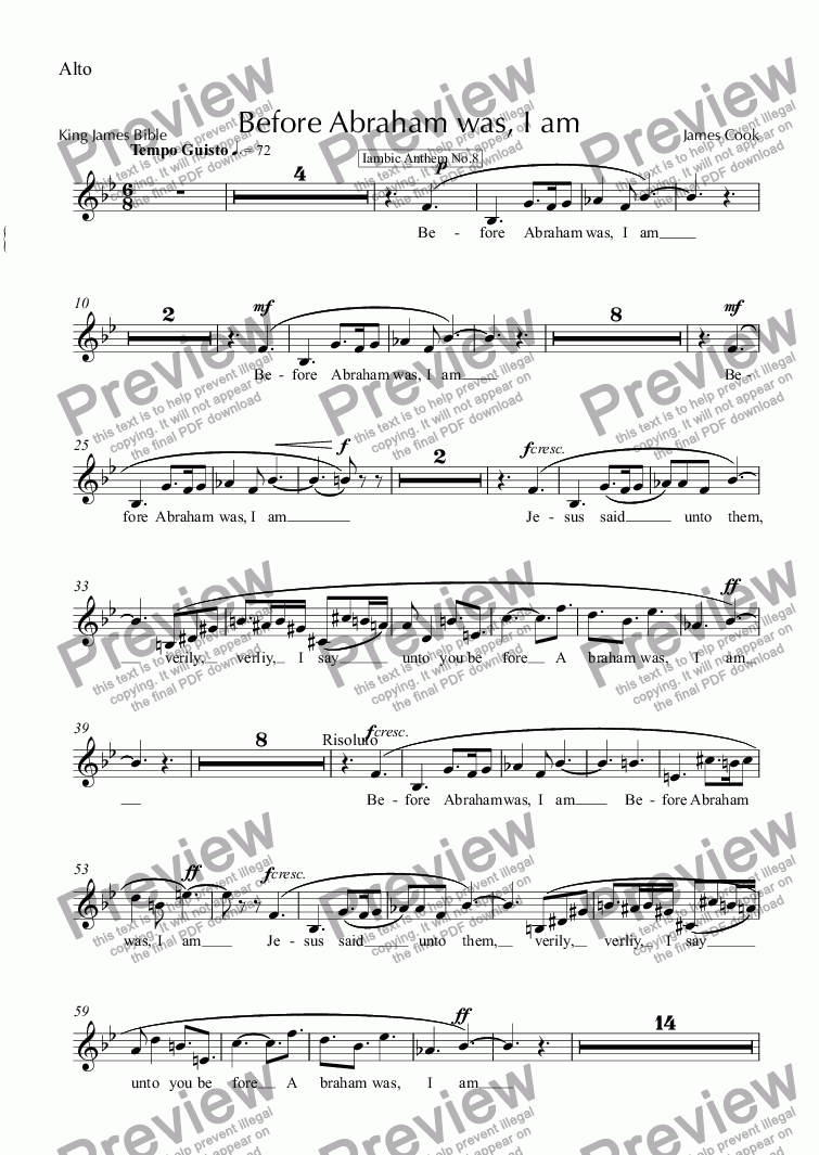 page one of the Alto part from Before Abraham was, I am