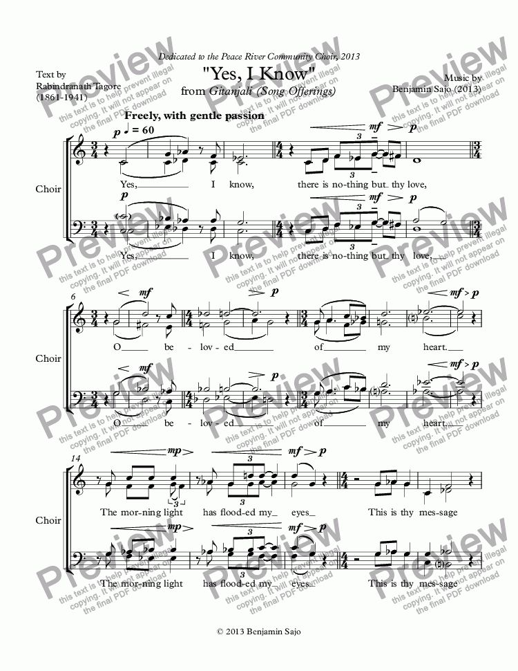 page one of the Choir part from 'Been Jammin