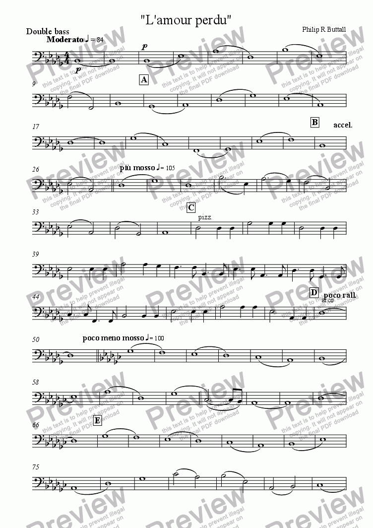 page one of the Double bass part from L'amour perdu