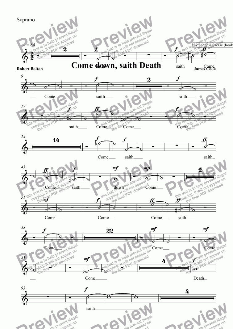 page one of the Soprano part from Come down, saith Death