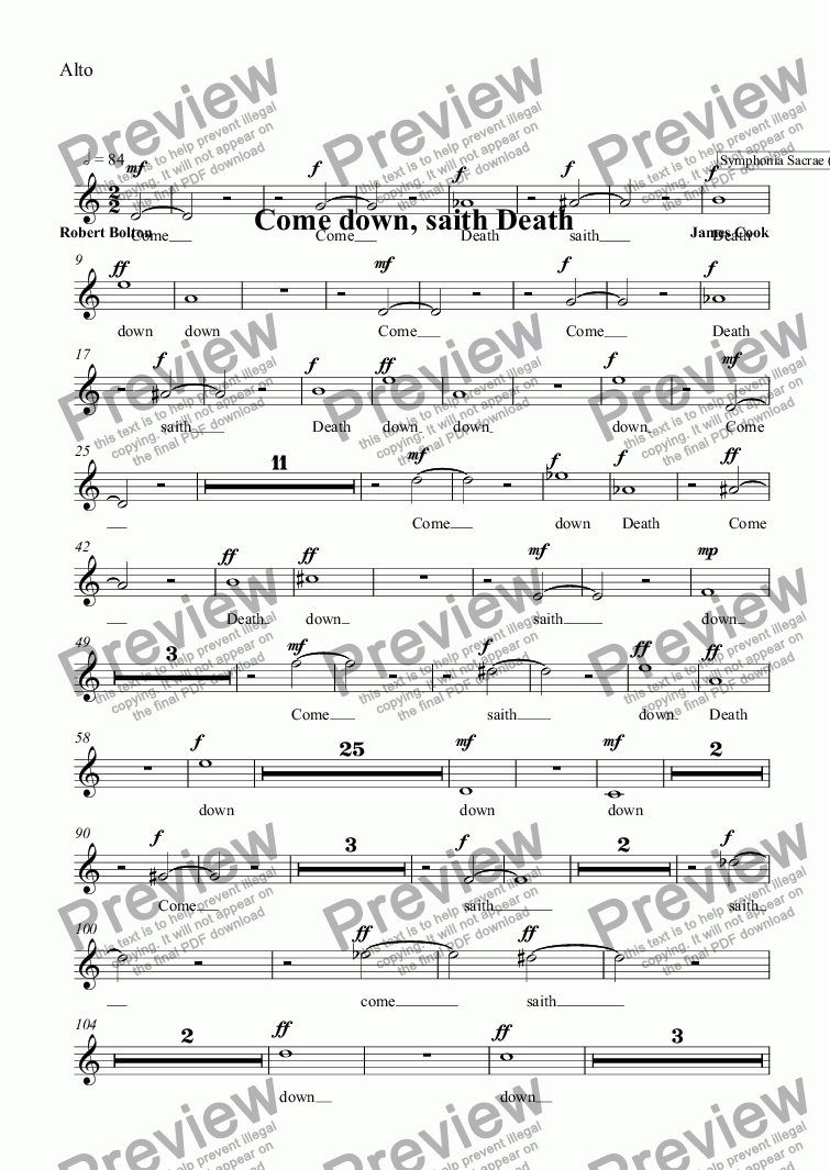 page one of the Alto part from Come down, saith Death