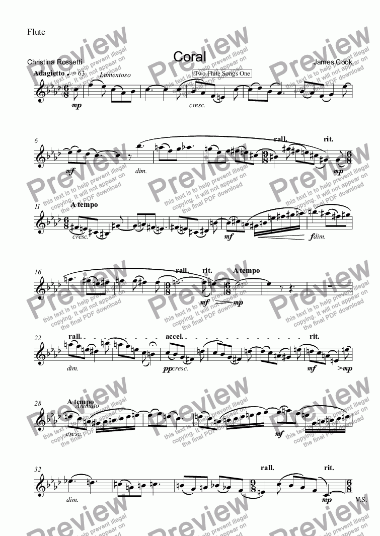 page one of the Flute part from Coral
