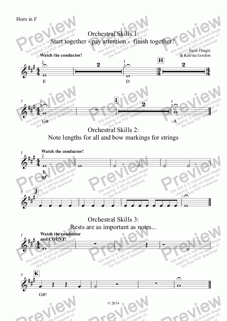 page one of the Horn in F part from Orchestral Skills 1: Start together - pay attention -  finish together?