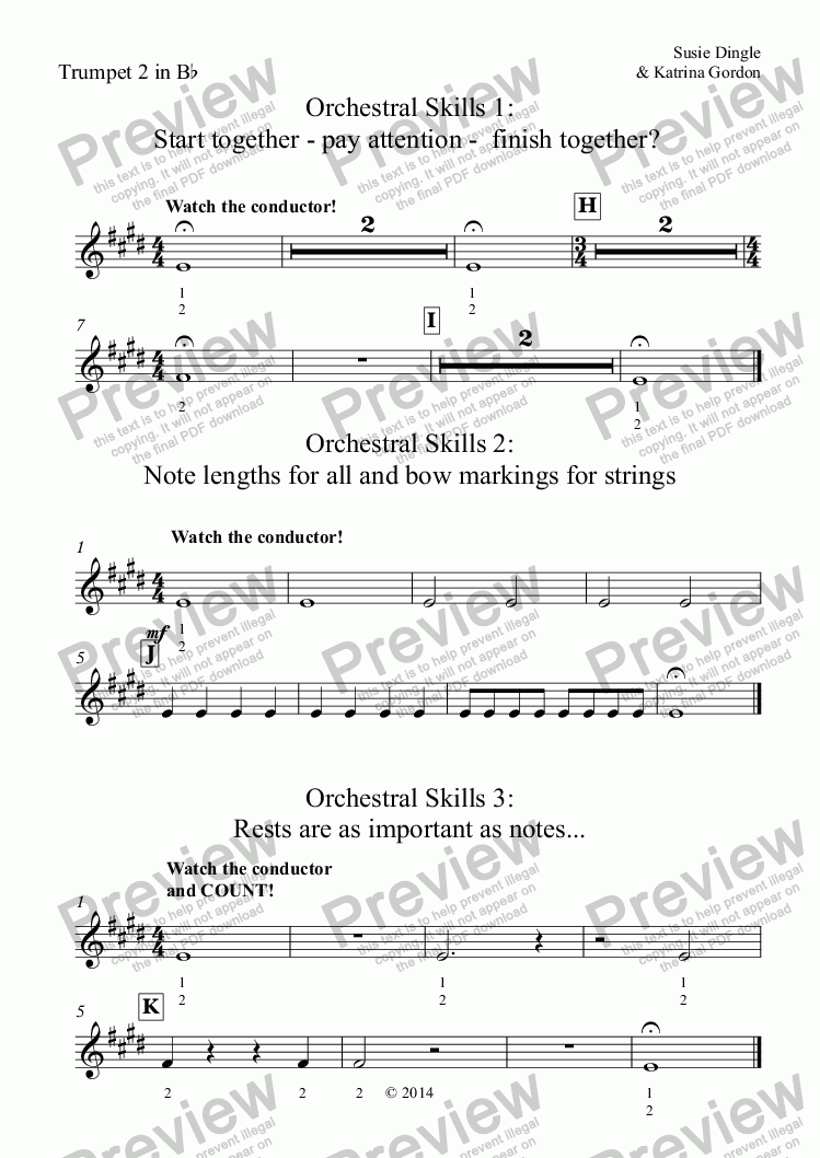 page one of the Trumpet 2 in B^b part from Orchestral Skills 1: Start together - pay attention -  finish together?