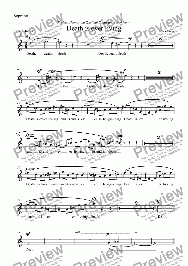 page one of the Soprano part from Death is ever living