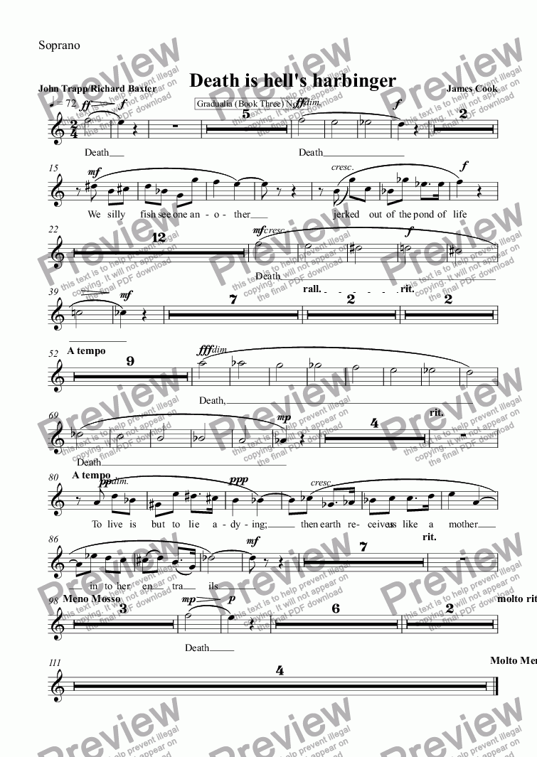 page one of the Soprano part from Death is hell's harbinger