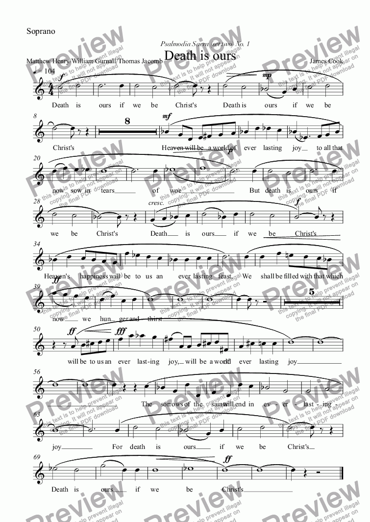 page one of the Soprano part from Death is ours