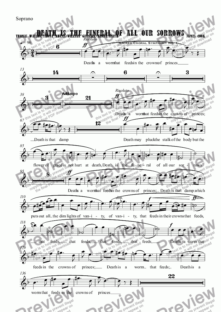 page one of the Soprano part from Death is the funeral of all our sorrows
