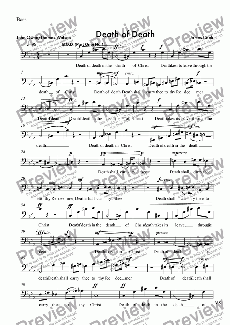 page one of the Bass part from Death of Death
