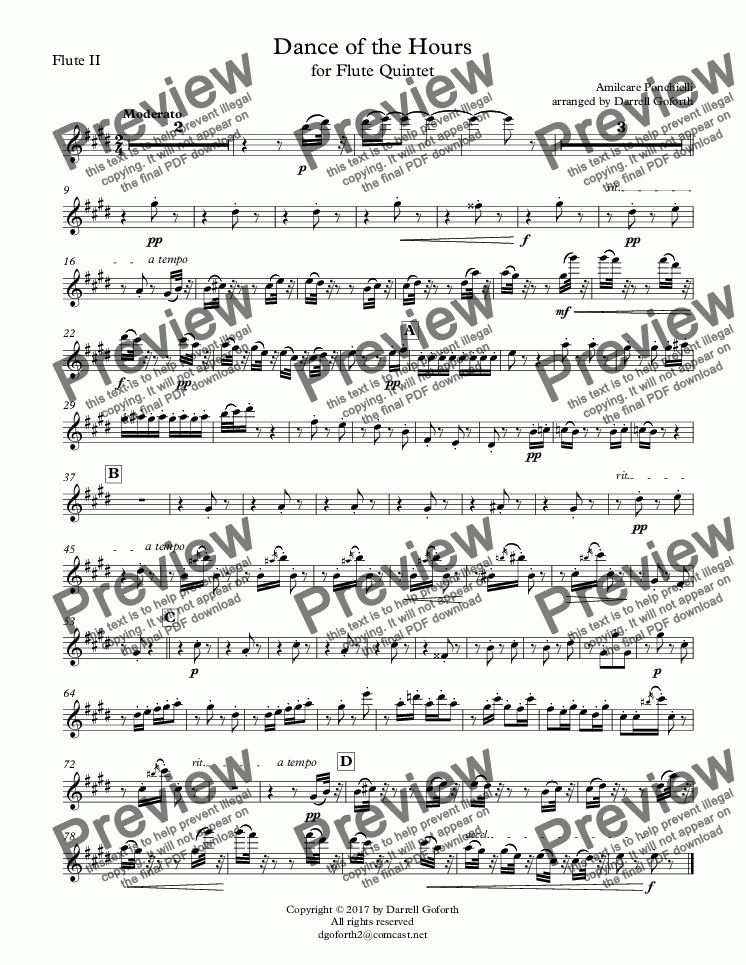 page one of the Flute II part from Dance of the Hours for Flute Quintet
