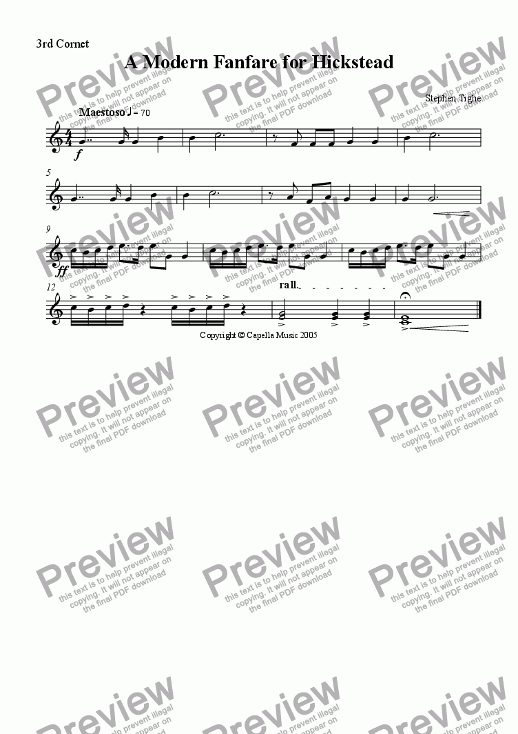 page one of the 3rd Cornet part from A Modern Fanfare for Brass Band