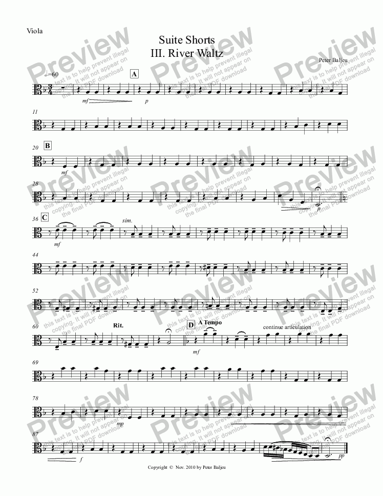 page one of the Viola part from Suite Shorts III. River Waltz