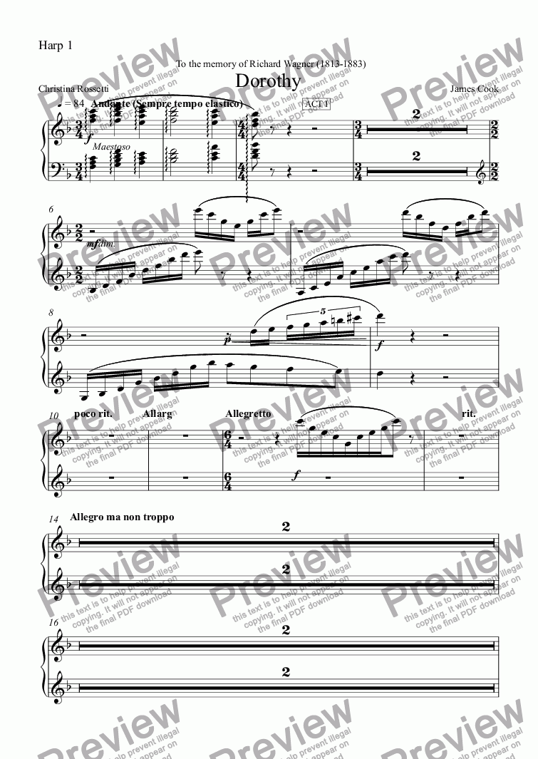 page one of the Harp 1 part from Dorothy