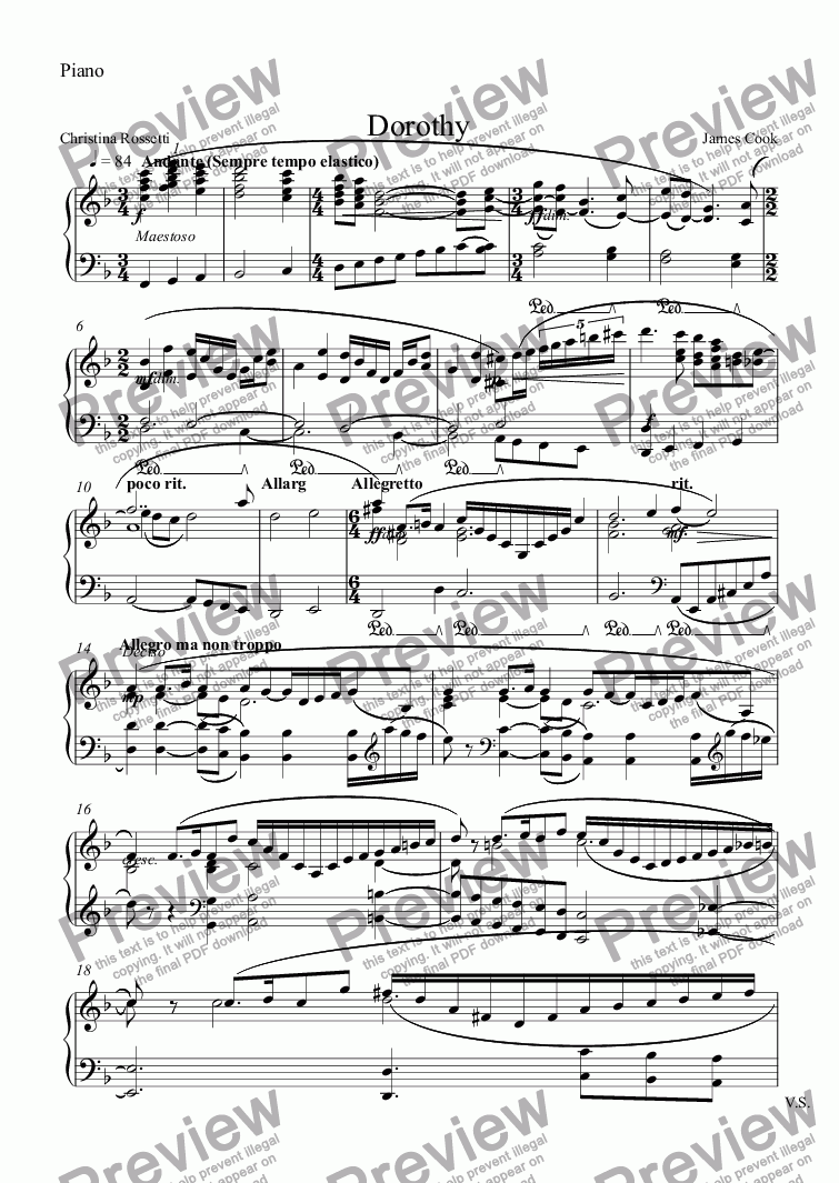 page one of the Piano part from Dorothy