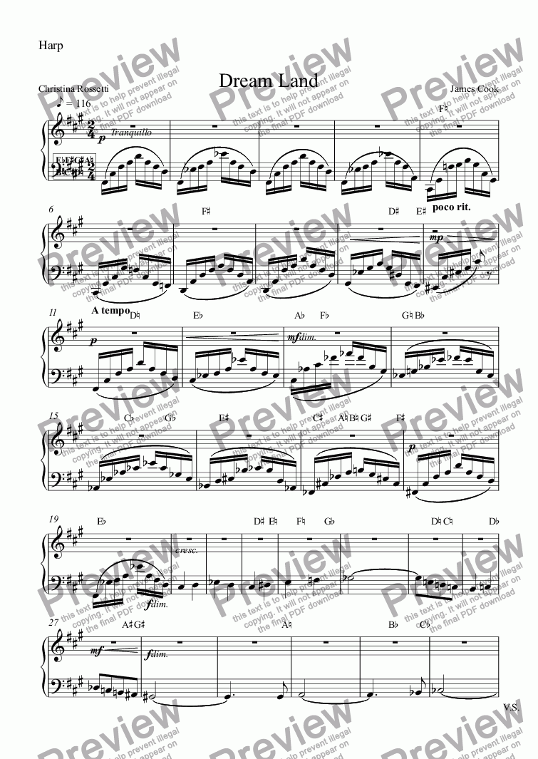 page one of the Harp part from Dream Land