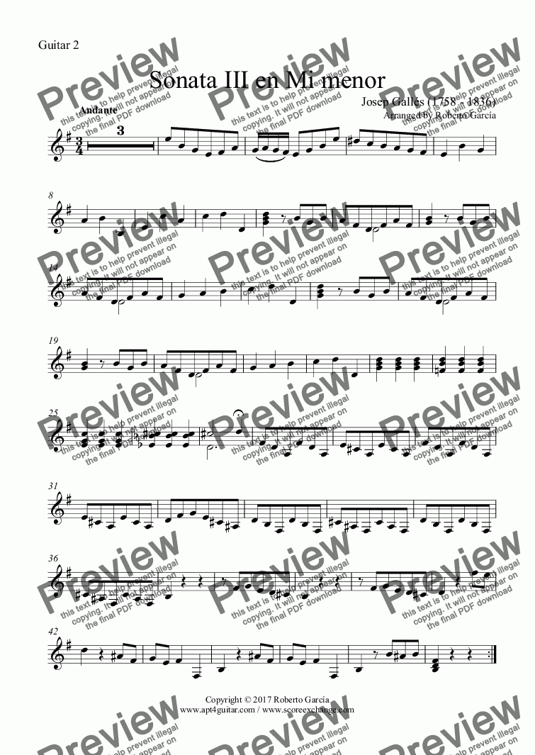 page one of the Guitar 2 part from Sonata III en Mi menor for guitar duet