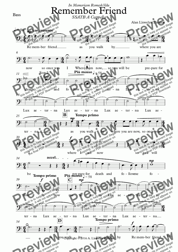 page one of the Bass part from Remember Friend