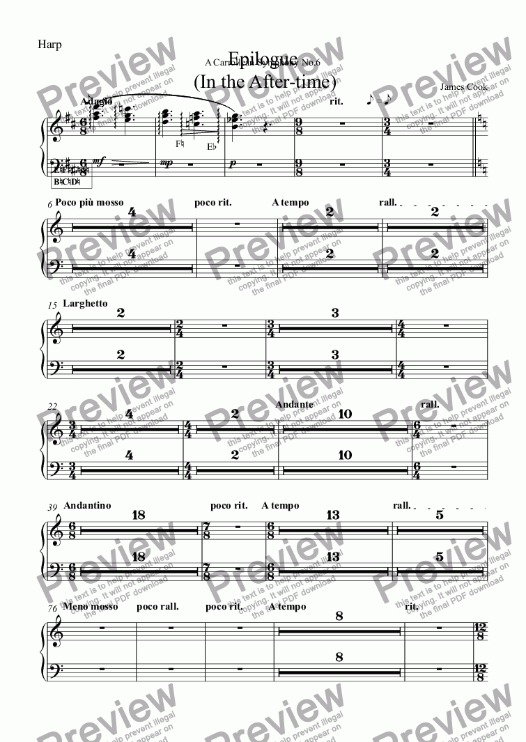 page one of the Harp part from Epilogue  (In the After-time)