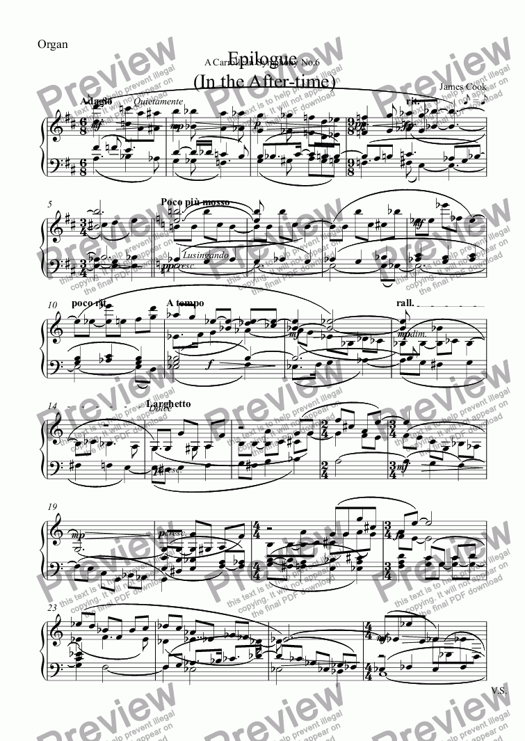 page one of the Organ part from Epilogue  (In the After-time)