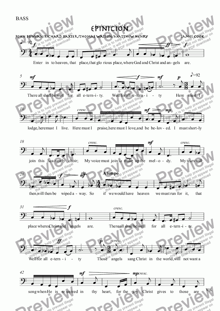 page one of the BASS part from Epinicion