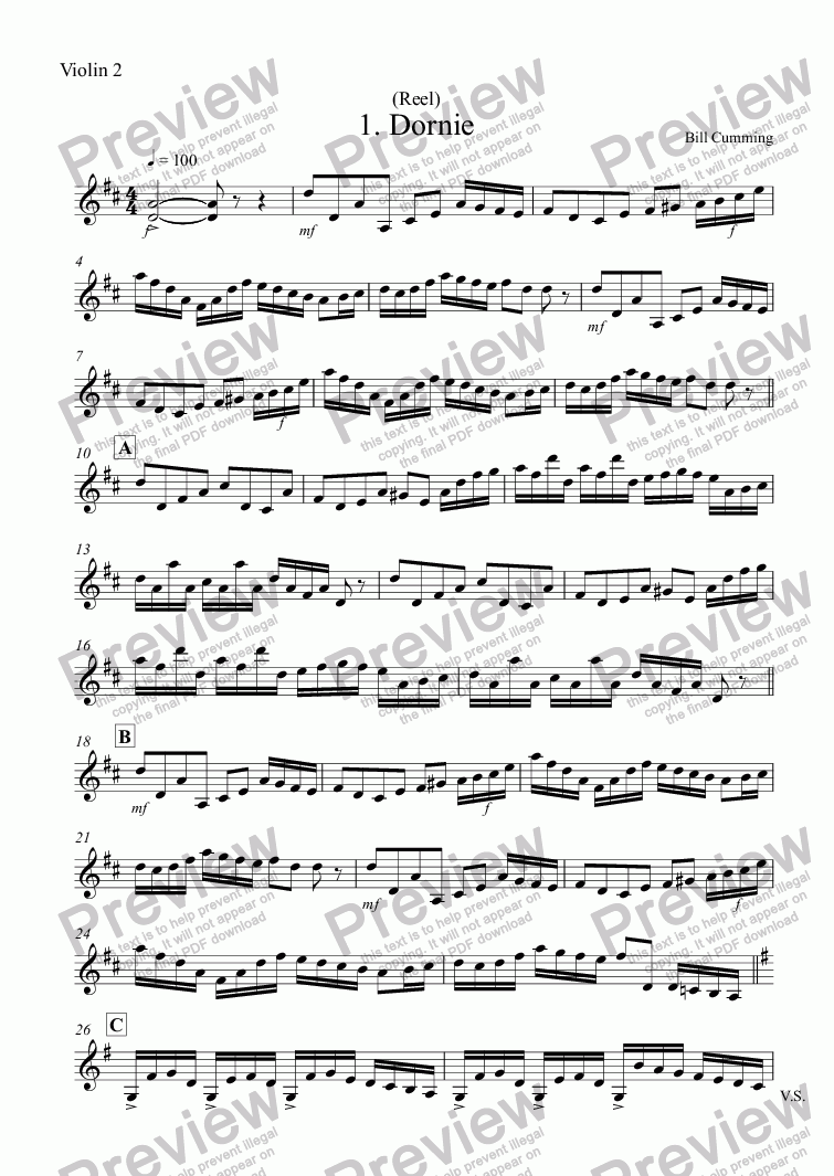"page one of the Violin 2 part from 1. ""Dornie"" (Reel) for two violins"