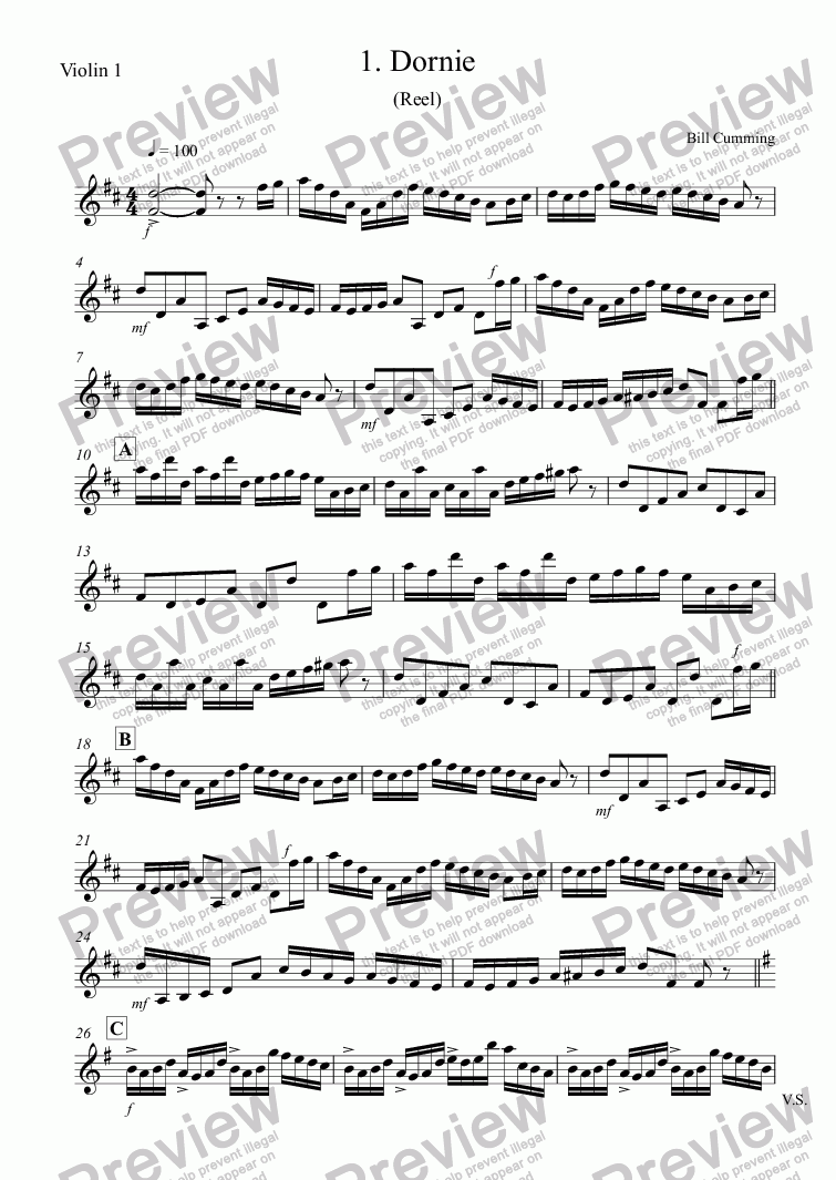 "page one of the Violin 1 part from 1. ""Dornie"" (Reel) for two violins"