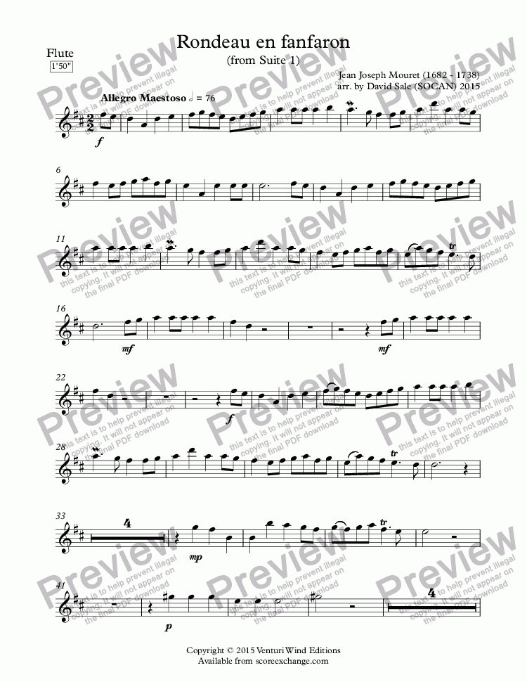 page one of the Flute part from Rondeau en fanfaron (wind quintet)