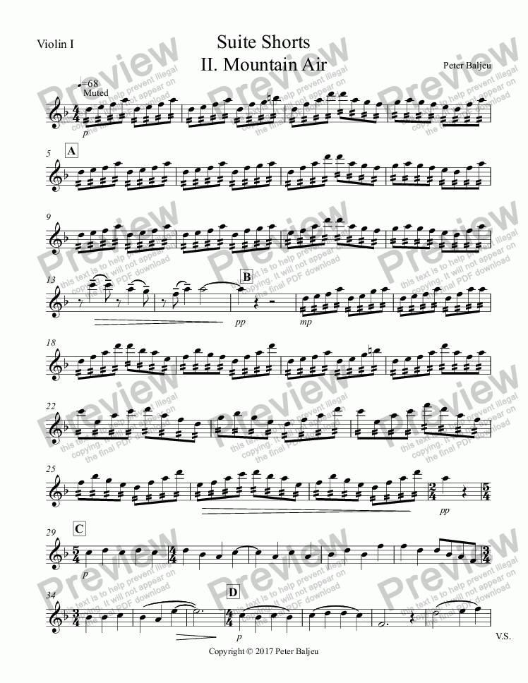 page one of the Violin I part from Suite Shorts  II. Mountain Air