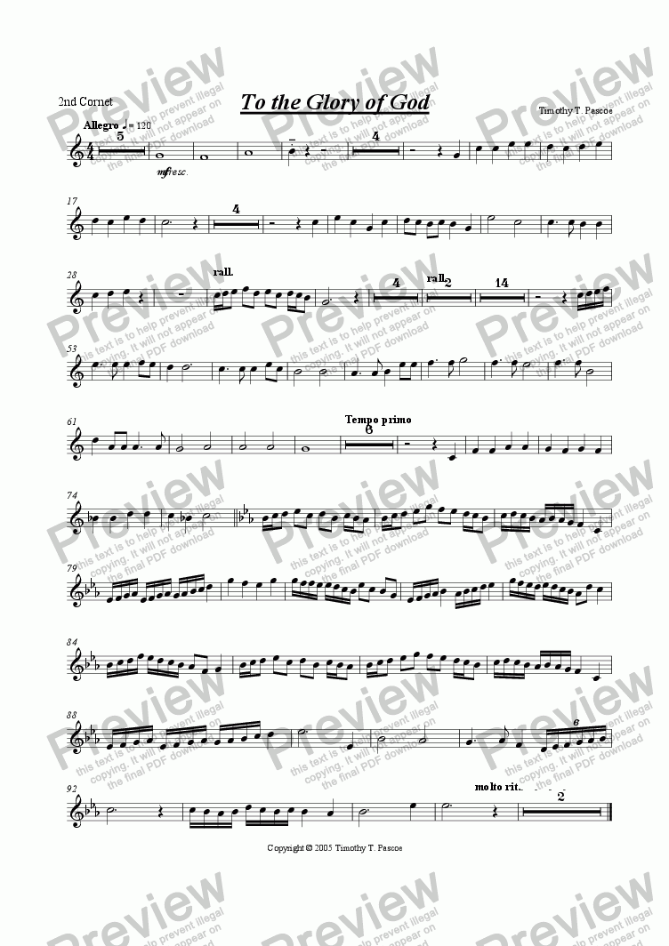 page one of the 2nd Cornet part from To The Glory Of God (Brass Band)