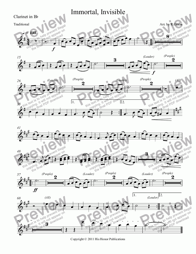 page one of the Clarinet in B^b part from Immortal, Invisible