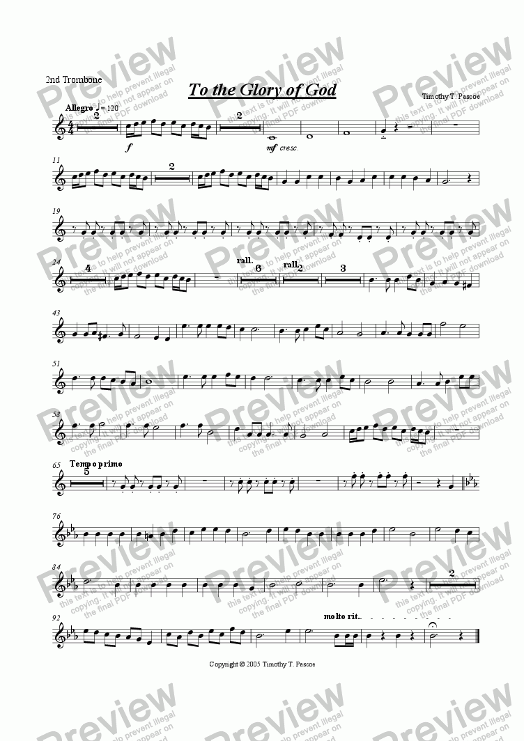 page one of the 2nd Trombone part from To The Glory Of God (Brass Band)