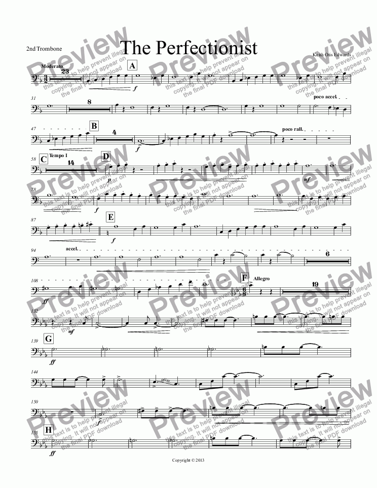 page one of the 2nd Trombone part from The Perfectionist