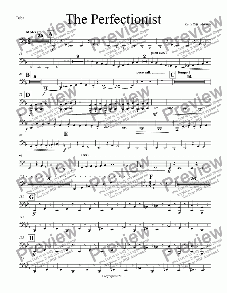 page one of the Tubas part from The Perfectionist
