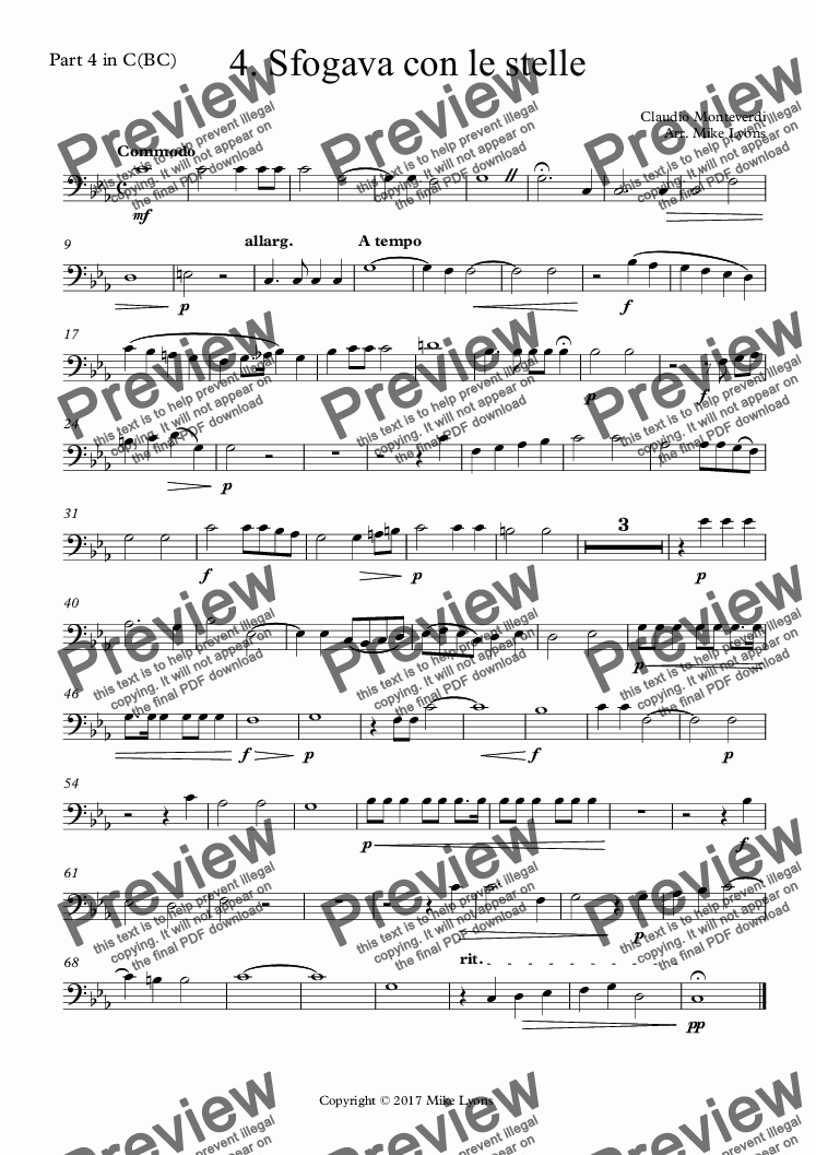 page one of the Part 4 in C(BC) part from Brass Quintet - Monteverdi Madrigals Book 4 - 04. Sfogava con le stelle