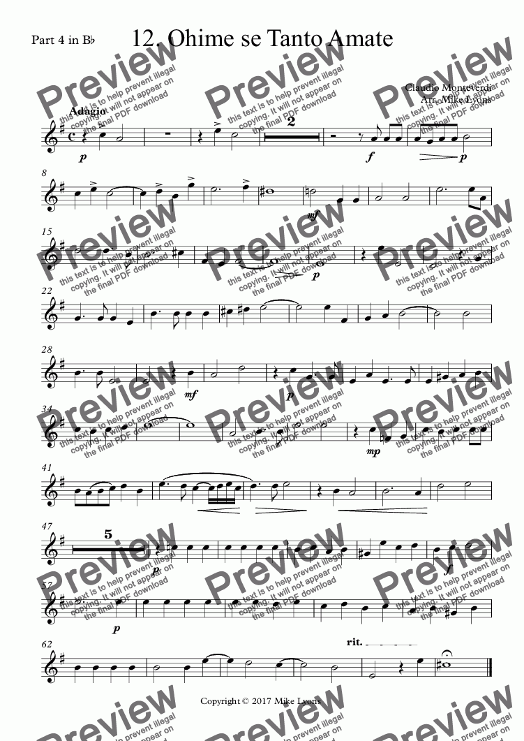 page one of the Part 4 in B^b part from Brass Quintet - Monteverdi Madrigals Book 4 - 12. Ohime se Tanto Amate