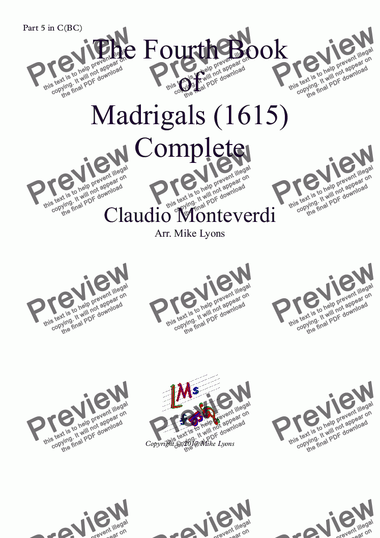 page one of the Part 5 in C(BC) part from Brass Quintet - Monteverdi Madrigals Book 4 - (Complete)