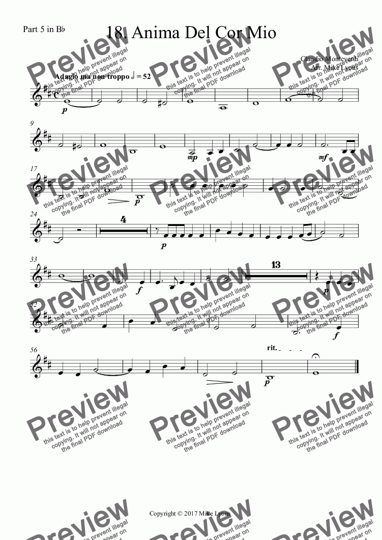 page one of the Part 5 in B^b part from Brass Quintet - Monteverdi Madrigals Book 4 - 18. Anima Del Cor Mio