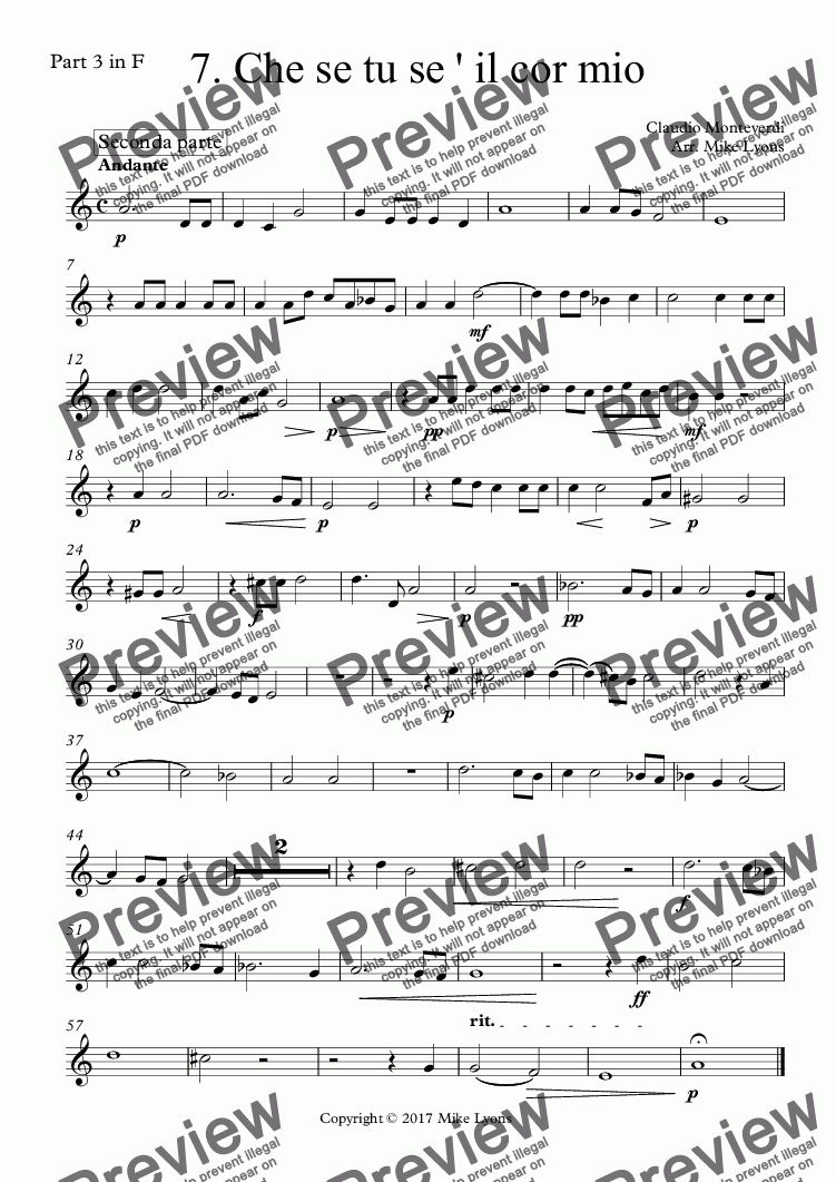 page one of the Part 3 in F part from Brass Quintet - Monteverdi Madrigals Book 4 - 07. Che se tu se ' il cor mio