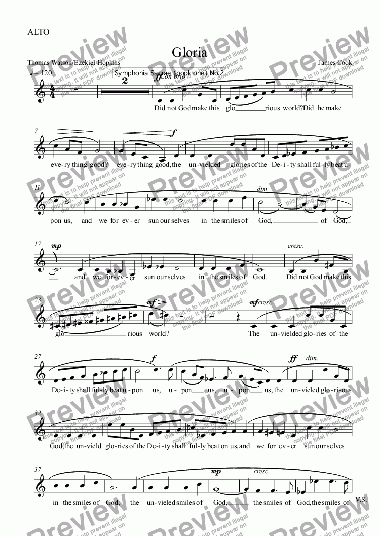 page one of the ALTO part from Gloria