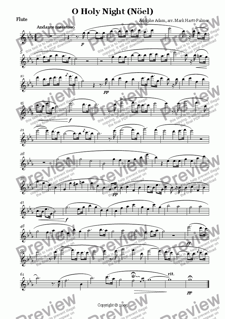 page one of the Flute part from O Holy Night (verion for Flute, Violin & Piano)