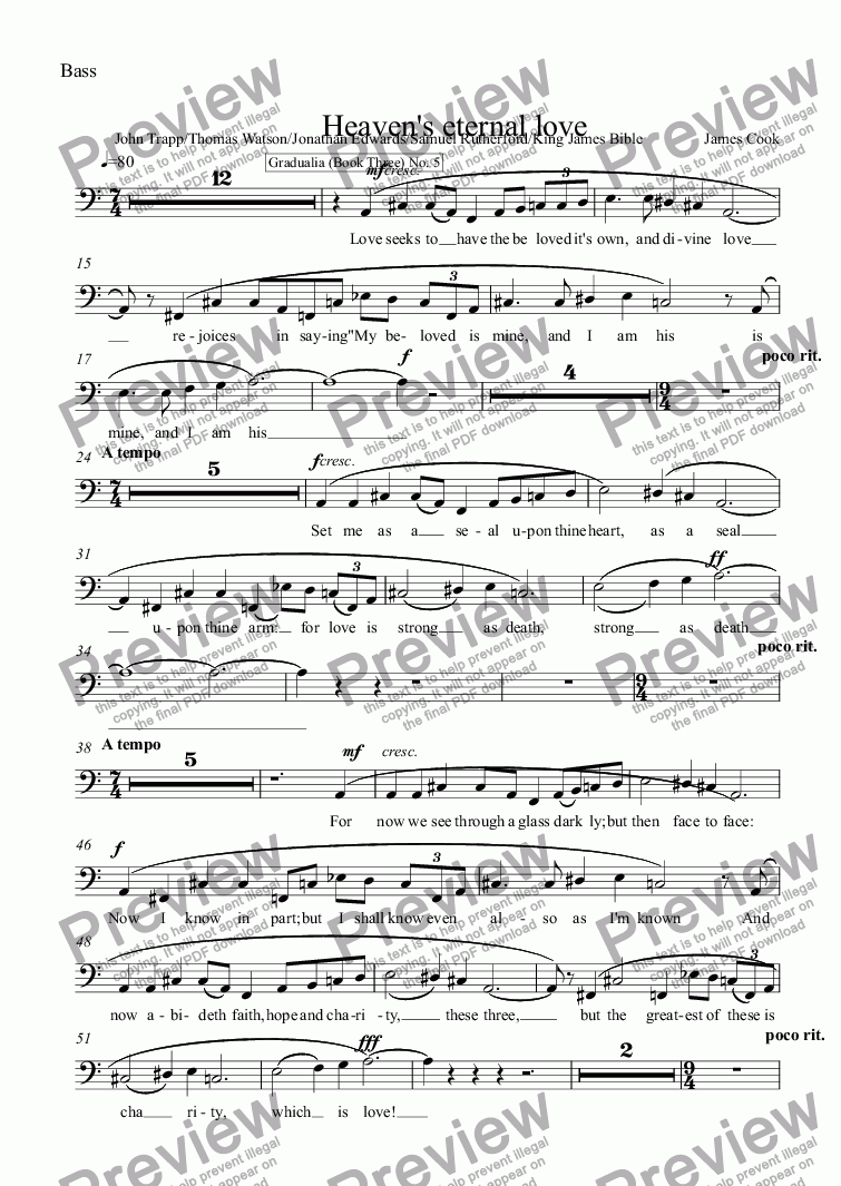 page one of the Bass part from Heaven's eternal love