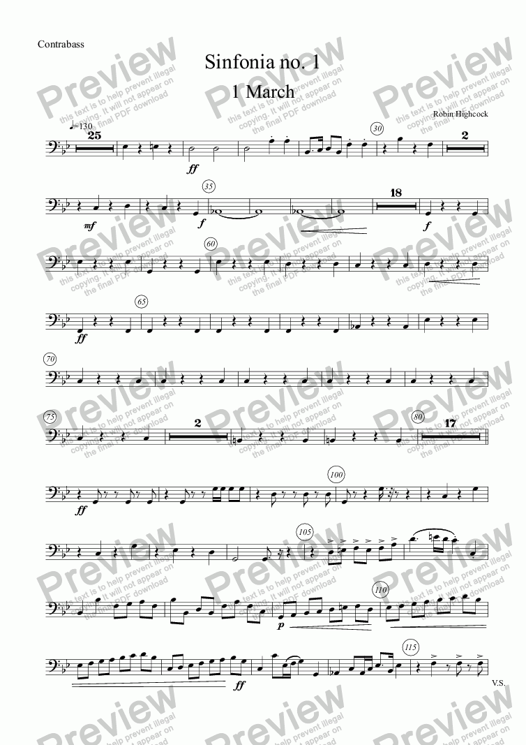 page one of the Contrabass part from Sinfonia no 1