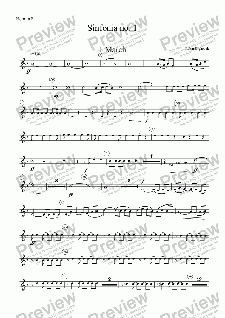 page one of the Horn in F 1 part from Sinfonia no 1
