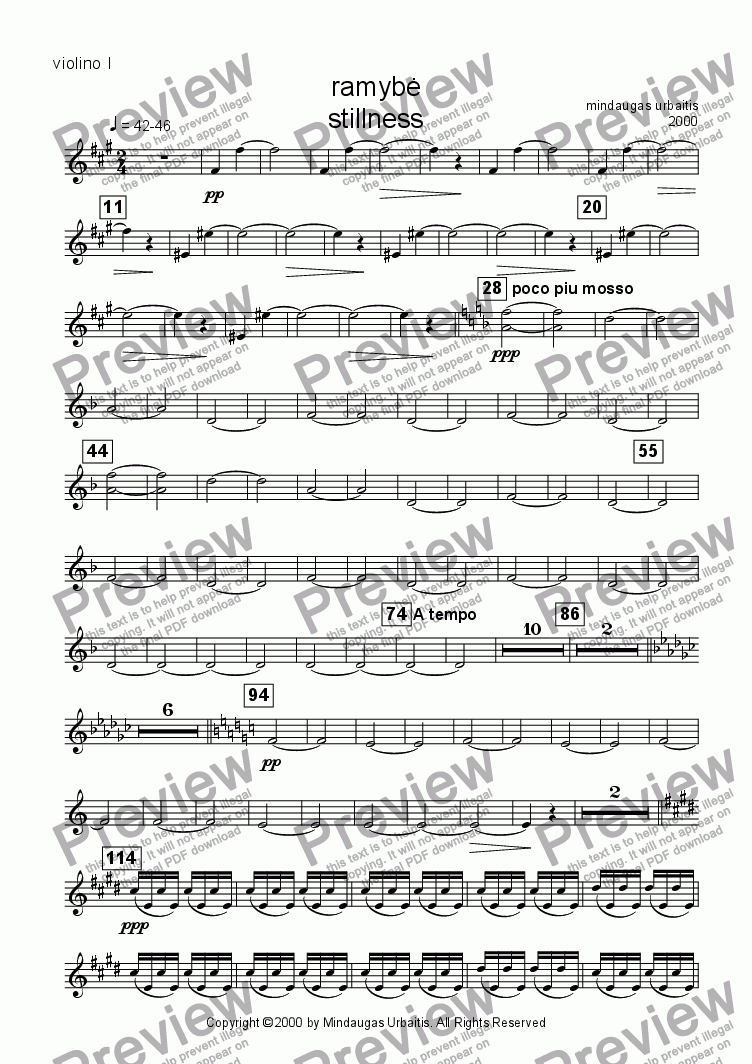 page one of the violin 1 part from Stillness