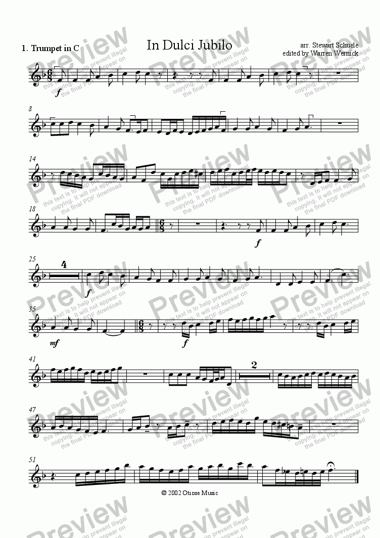 page one of the 1. Trumpet in C In Dulci Jubilo part from In Dulci Jubilo for Brass Quintet