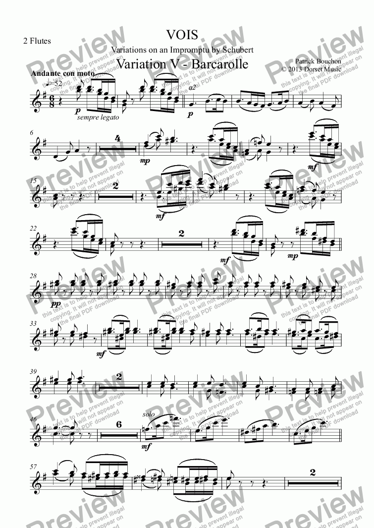 page one of the 2 Flutes part from VOIS - Variations on an Impromptu by Schubert - Variation V - Barcarolle