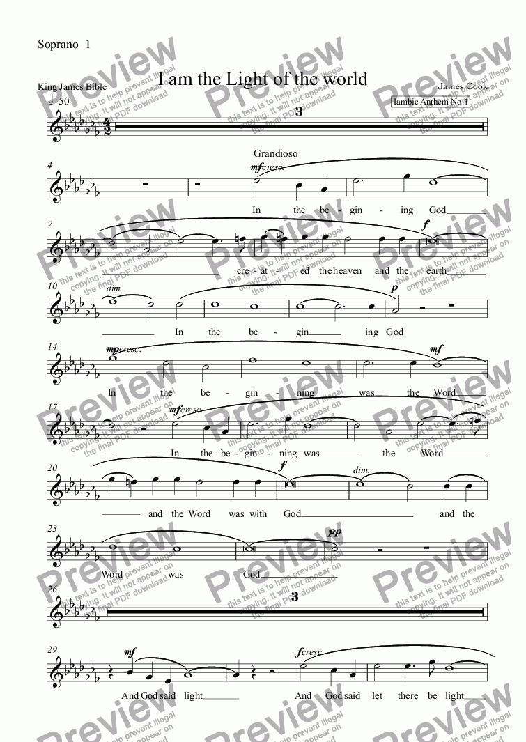page one of the Soprano  1 part from I am the Light of the world