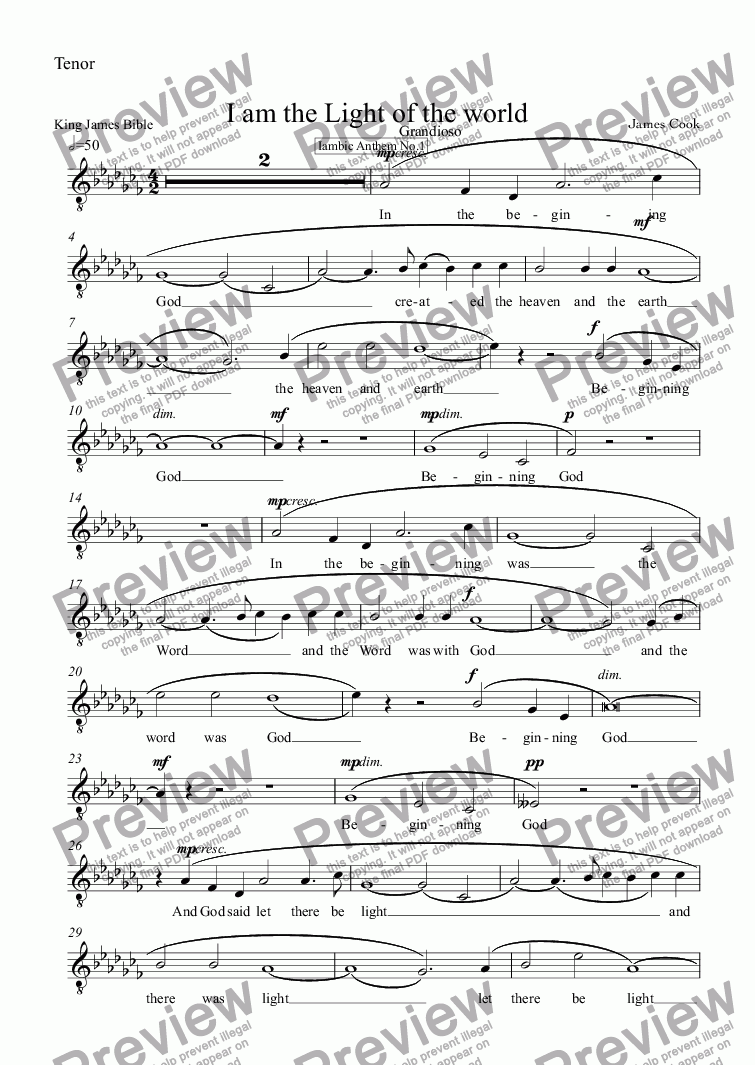 page one of the Tenor part from I am the Light of the world