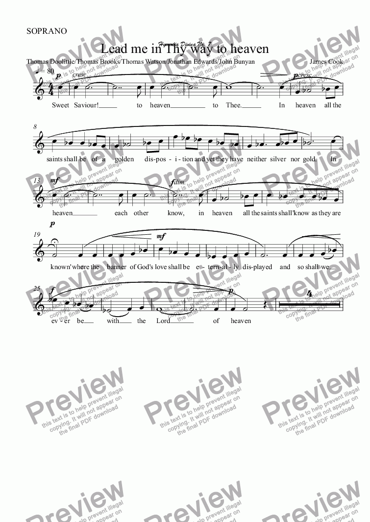page one of the SOPRANO part from Lead me in Thy way to heaven