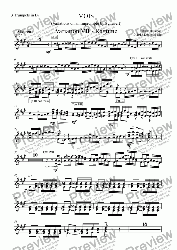 page one of the 3 Trumpets in Bb part from VOIS - Variations on an Impromptu by Schubert - Variation VII - Ragtime